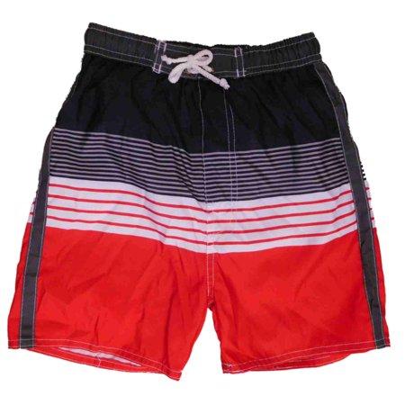 Boys Black & Red Striped Swim Trunks Board Shorts