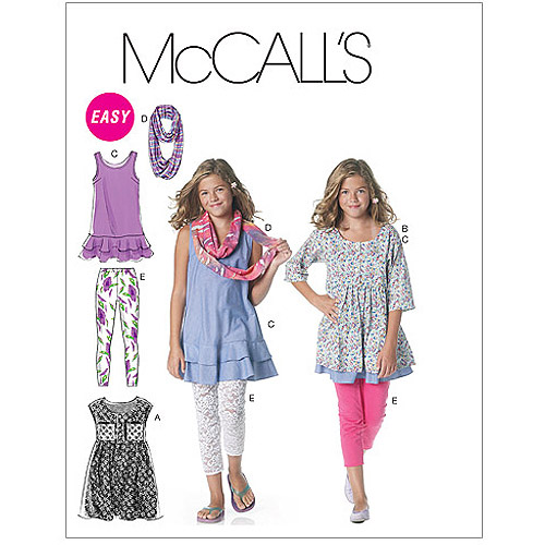 McCall's Pattern Girls' and Girls' Plus Dresses, Scarf and Leggings, Girl (7, 8, 10, 12, 14)