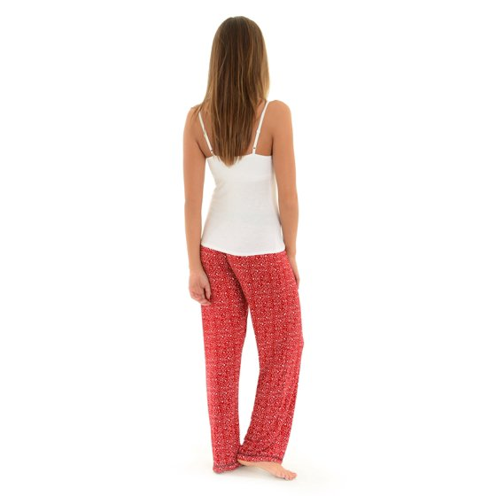 Int Intimates Womens Red Pajama Pants And White Lace