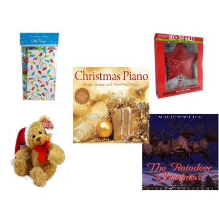 - Christmas Fun Gift Bundle [5 Piece] - 2-Pk  Lights Cello Bags 20 Count - Deck The Halls Red Star Tree Topper 11.5