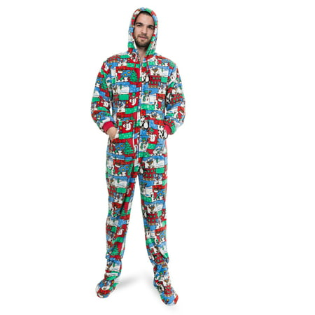 big feet pajamas ugly christmas sweater one piece sleeper footed pajamas with rear flap size walmartcom - Walmart Christmas Pajamas