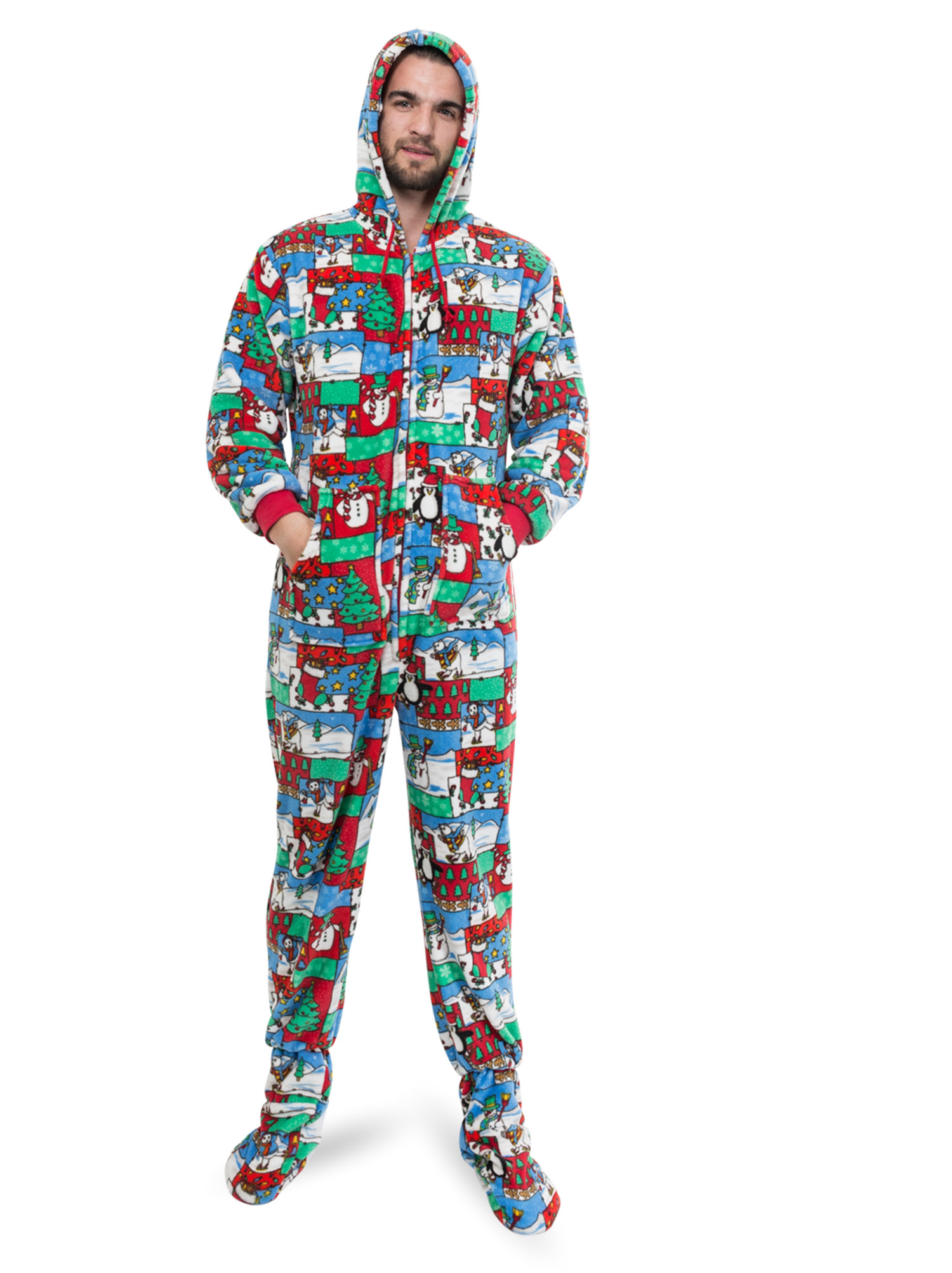 ugly christmas sweater one piece sleeper footed pajamas with rearugly christmas sweater one piece sleeper footed pajamas with rear flap size walmart com