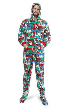 Ugly Christmas Sweater One Piece Sleeper Footed Pajamas with Rear Flap Size