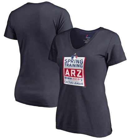 Majestic Women's 2019 Spring Training Cactus League Primary Logo V-Neck T-Shirt - Navy