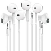 Headphones with Microphone, Certified PowerIn-Ear 3.5mm Noise Cancelling Sport Stereo Earphones Headset for iPhone iPad iPod Laptop Tablet Android LG HTC Smartphones (White) 3 PACK