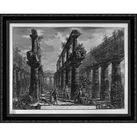Acetate Temples Frame - Remains of columns making up the side porches of the Temple in the cell above 36x28 Large Black Ornate Wood Framed Canvas Art by Giovanni Battista Piranesi