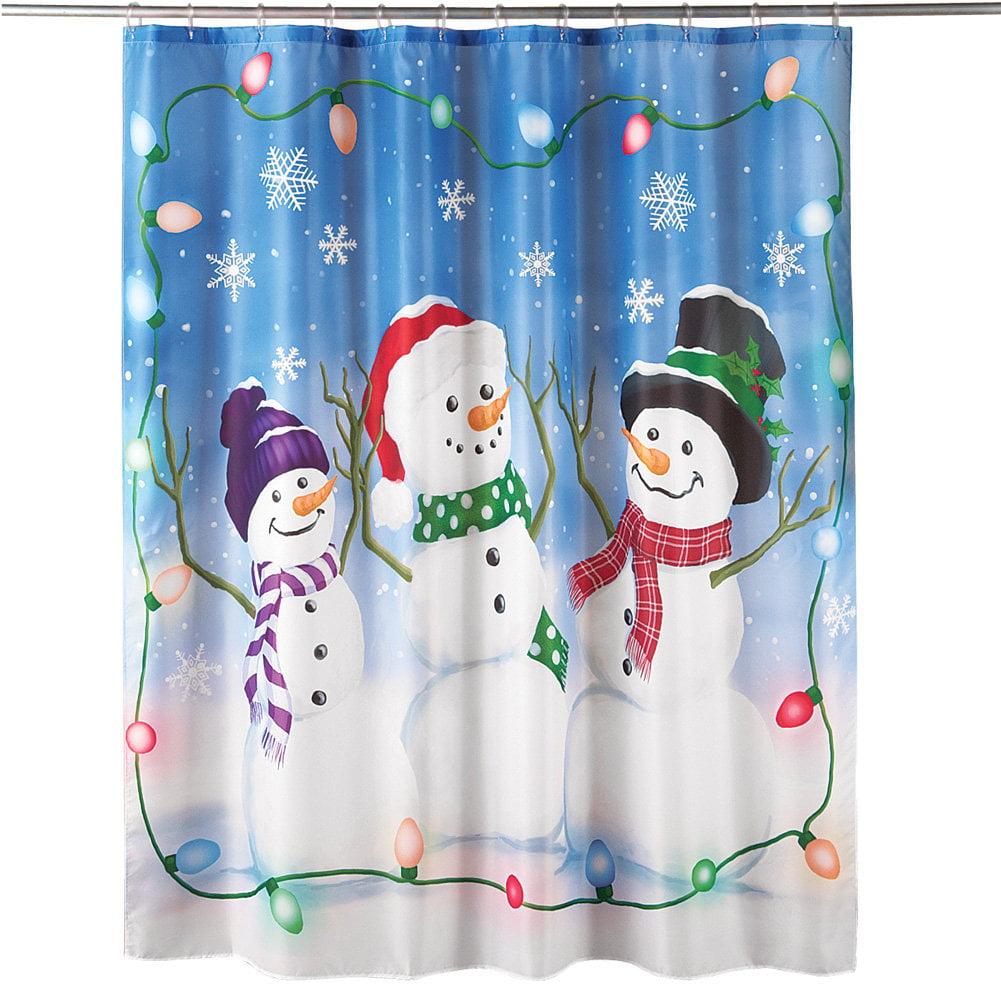 Festive Snowman Trio With Lights Christmas Bathroom Shower Curtain