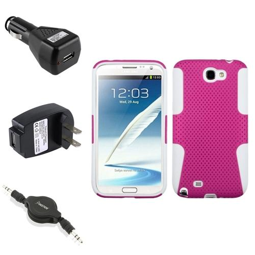 Insten White/Pink Hybrid Case 2x Charger Audio Cable For Samsung Galaxy Note 2 II