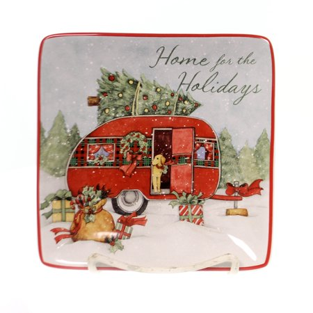 Tabletop HOME FOR CHRISTMAS CANAPE PLATE Ceramic Puppy Dog Tree 22791 Camper