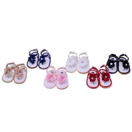 BOBORA Baby Girls Summer Indoor Outdoor Sandals Flower Anti-slip Soft Sole Crib Shoes 0-18M