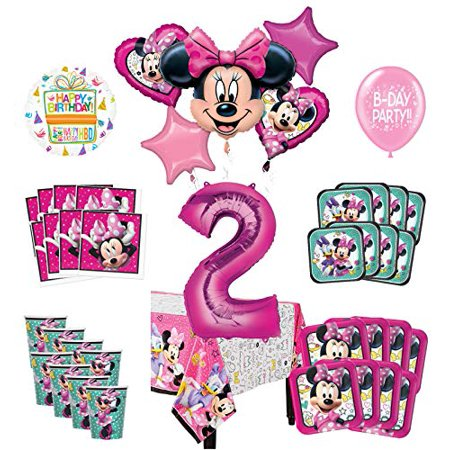 Mayflower Products Minnie Mouse 2nd Birthday Party Supplies and 8 Guest Balloon Decoration Kit (Mini Mouse Birthday)