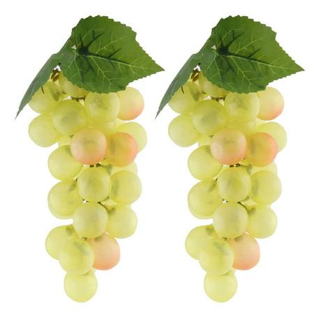 Desk Decor Plastic Artificial Grape Designed Emulation Fruit Light Yellow 2pcs - image 3 de 3