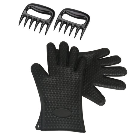 BBQ Barbecue Grill Cooking Gloves - Heat Resistant Non-Slip Waterproof Silicone Smoker Grilling Glove with Bonus Pork Meat Shredder Bear