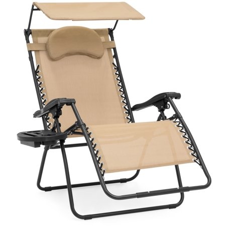 Best Choice Products Oversized Zero Gravity Reclining Lounge Patio Chairs w/ Folding Canopy Shade and Cup Holder (Tan) (Zero Gravity Folding Lounge Chair)