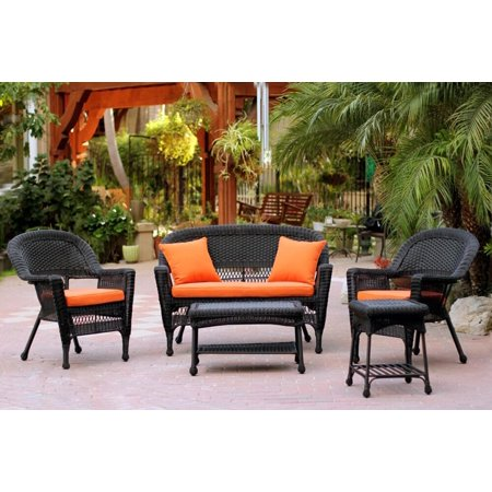 5 Piece Black Resin Wicker Patio Chair Loveseat Table Furniture Set Orange Cushions