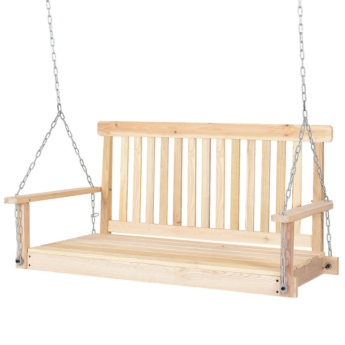 Tremendous Costway 4 Ft Porch Swing Natural Wood Garden Swing Bench Patio Hanging Seat Chains Unemploymentrelief Wooden Chair Designs For Living Room Unemploymentrelieforg