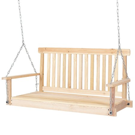 Costway 4 FT Porch Swing Natural Wood Garden Swing Bench Patio Hanging Seat (Hanging Porch Swings)