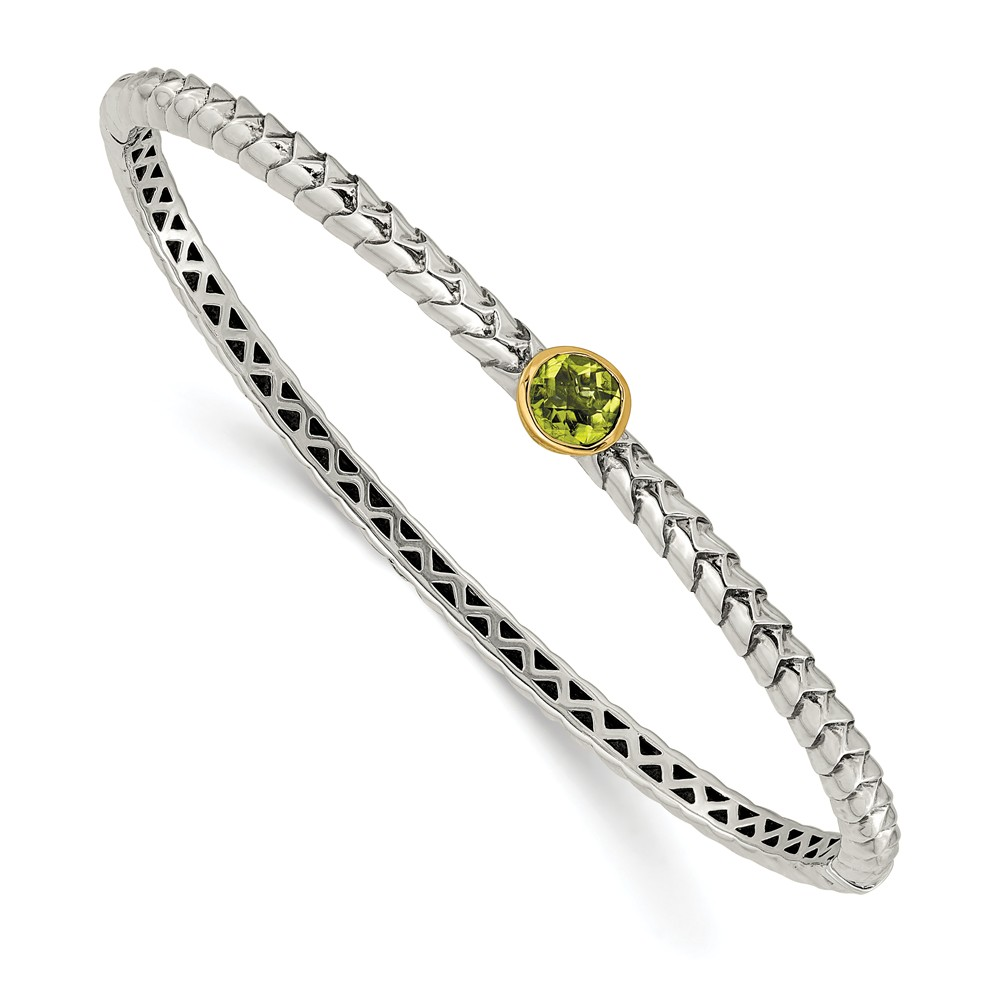 14K Gold and Sterling Silver with Peridot Bangle Bracelet (6mm) by
