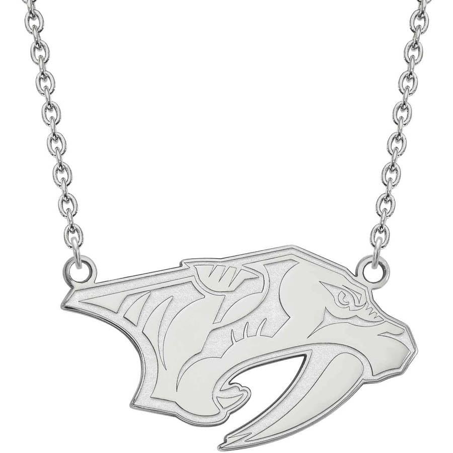 LogoArt NHL Nashville Predators Sterling Silver Large Pendant with Necklace