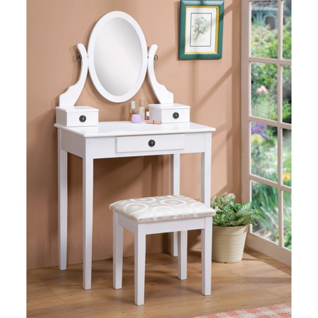 Aria Vanity (Roundhill Furniture Moniya White Wood Vanity Table and Stool Set)