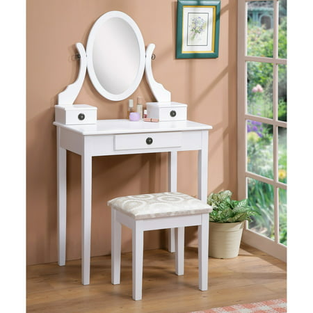 Roundhill Furniture Moniya White Wood Vanity Table and Stool (Maple Contemporary Vanity)