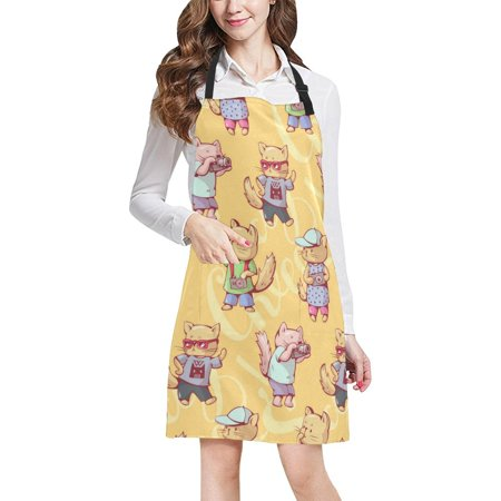 ASHLEIGH Funny Kittens With Camera Women Men Kitchen Apron Adjustable Bib Apron Front Pockets Perfect For