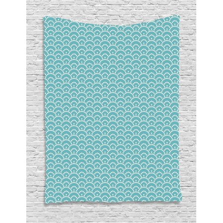 Light Blue Tapestry, Abstract Little Bubbles Natural Scenery Japanese Style Vintage Art Deco, Wall Hanging for Bedroom Living Room Dorm Decor, 40W X 60L Inches, Sky Blue White, by (Art Deco Japan)