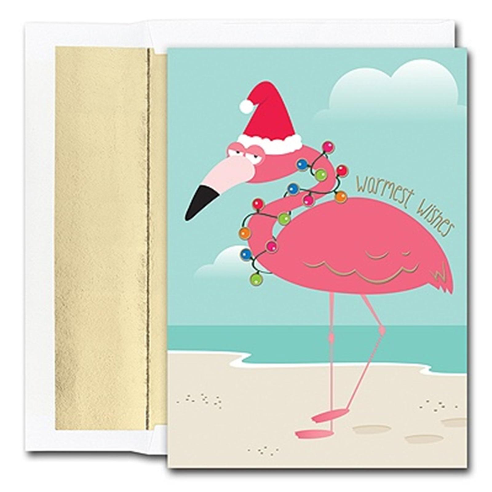 Funny Pink Santa Flamingo 18 Christmas Holiday Boxed Greeting Cards ...