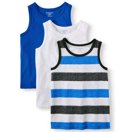 Solid & Striped Jersey Tank Tops, 3pc Multi-Pack (Toddler (Melange Jersey Tank)