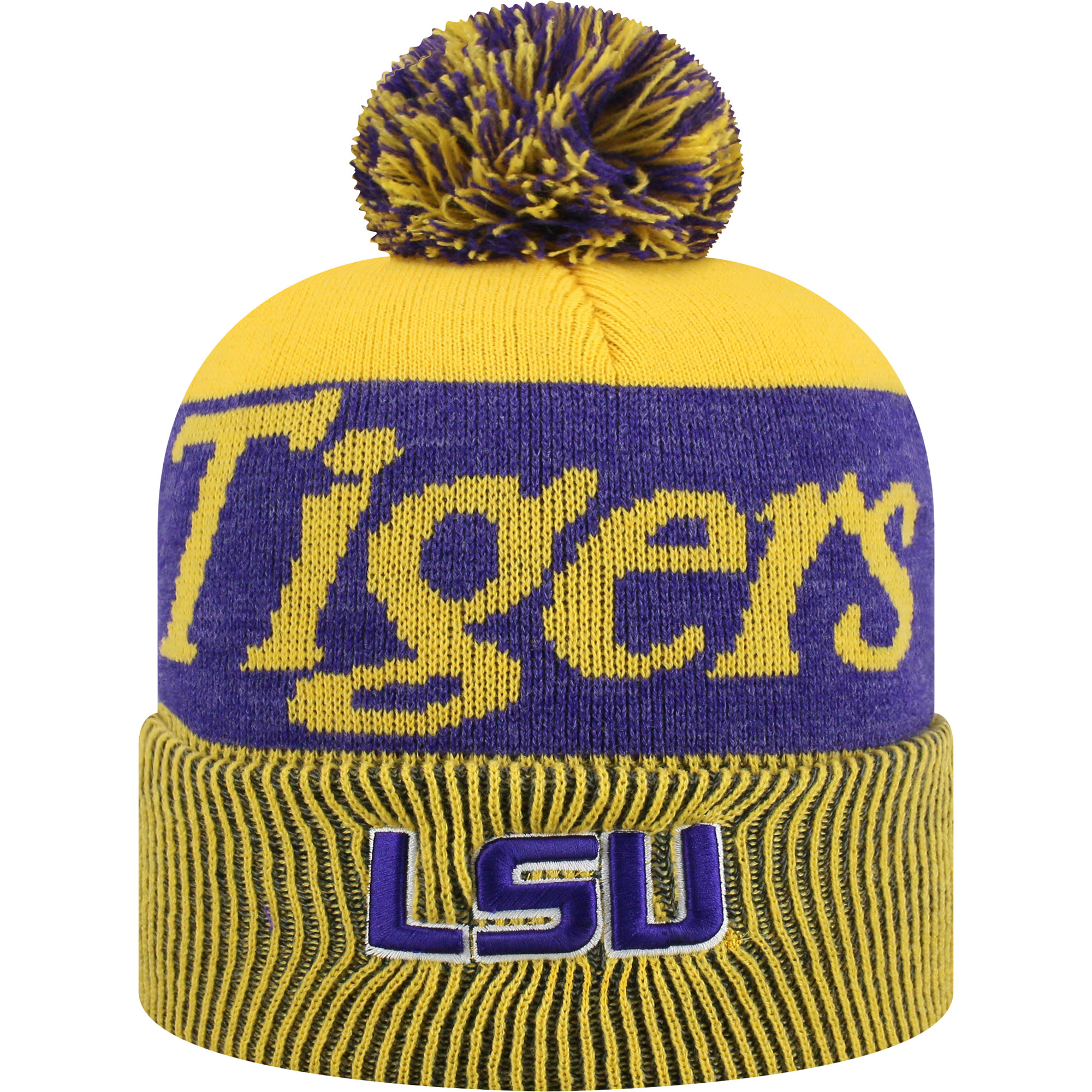 Women's Russell Gold/Purple LSU Tigers Frore Cuffed Knit Hat With Pom - OSFA