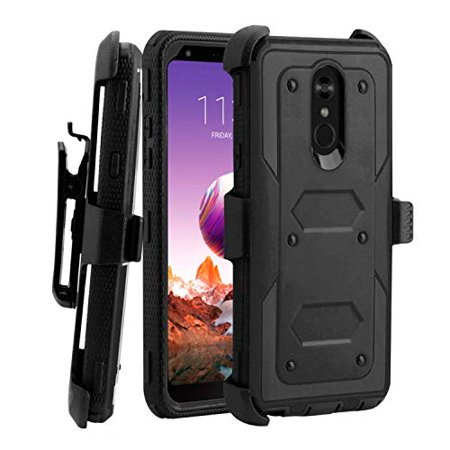 Mignova LG Stylo 4 case, heavy-duty shock-proof body protection rugged hybrid case with swivel belt clip and bracket for LG Stylo 4 case 2018(Black)