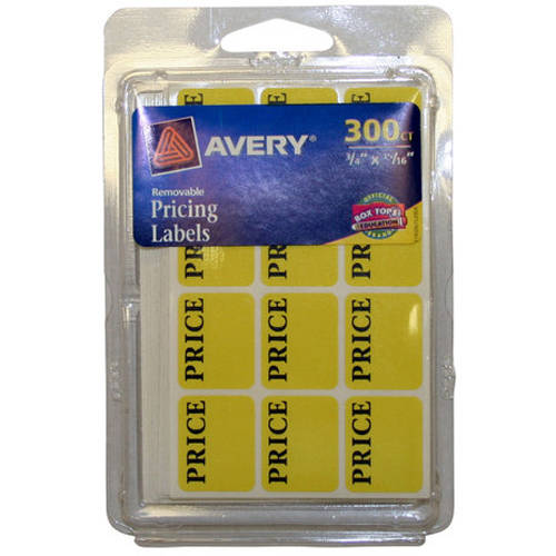 "Avery Removable Pricing Labels 6752, 3/4"" x 15/16"", Neon Yellow, Removable, 300pk"