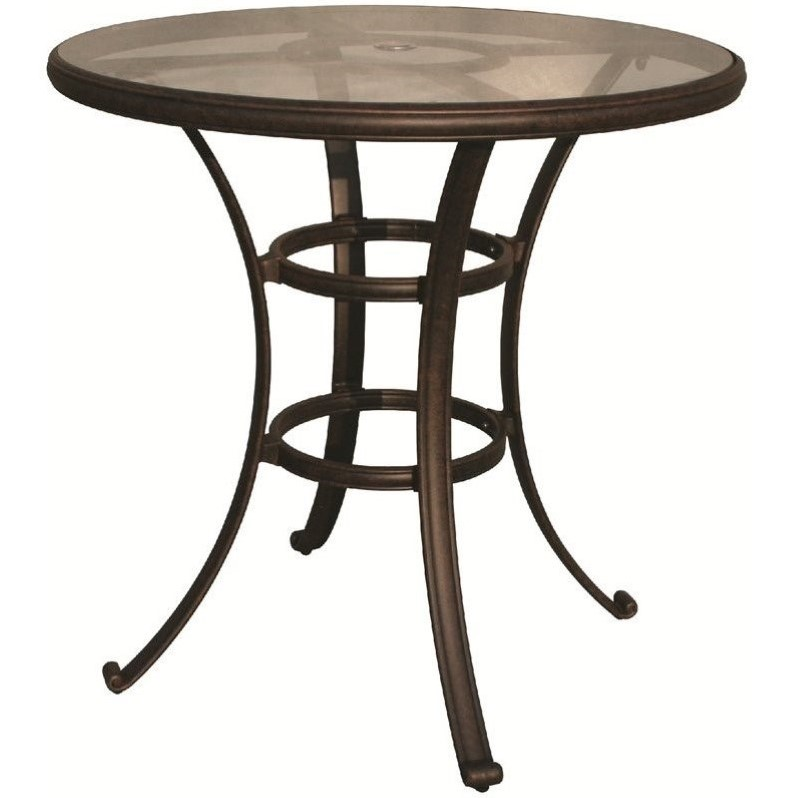 "Darlee 30"" Round Patio Pub Table with Glass Top in Antique Bronze by Darlee"