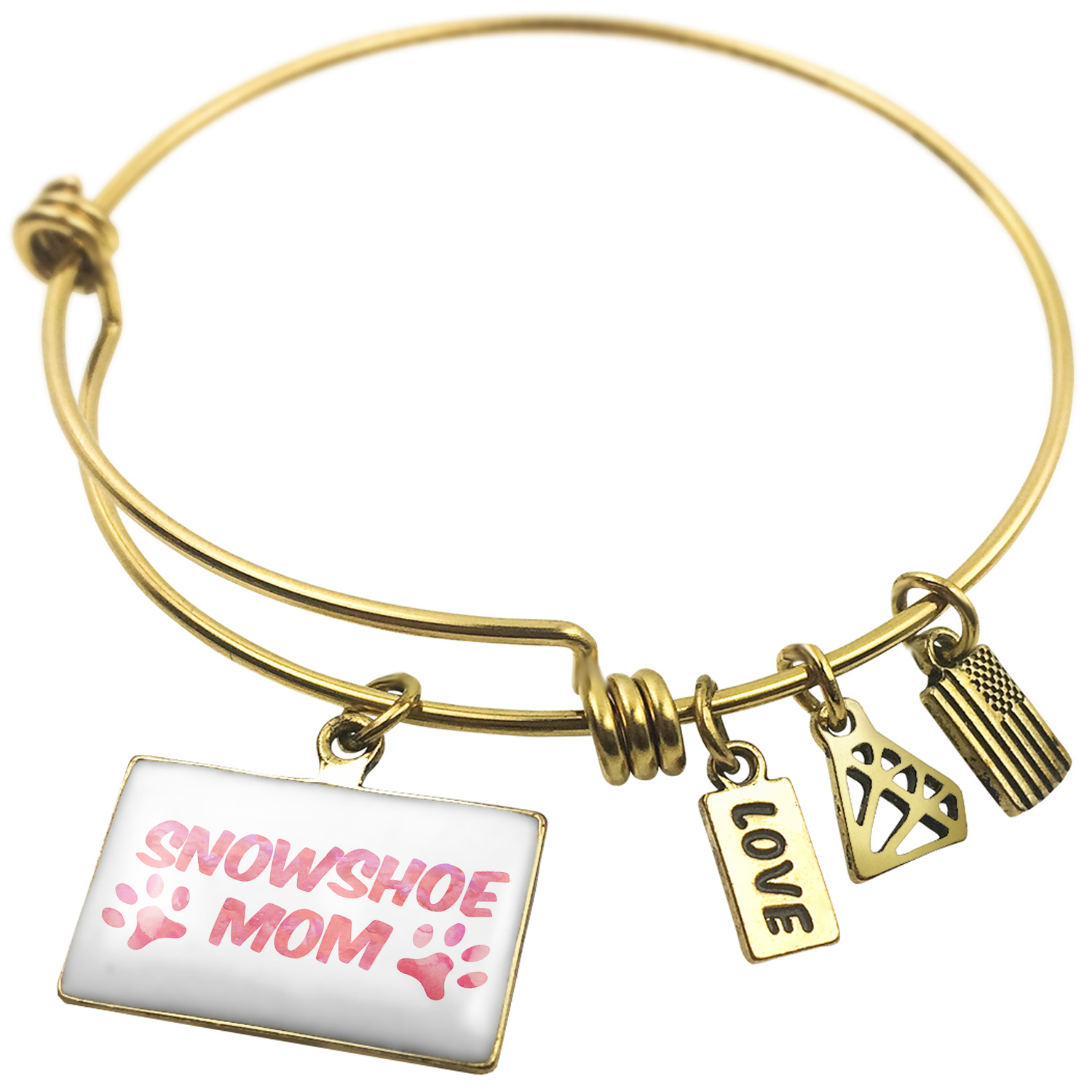 Expandable Wire Bangle Bracelet Dog & Cat Mom Snowshoe NEONBLOND by NEONBLOND