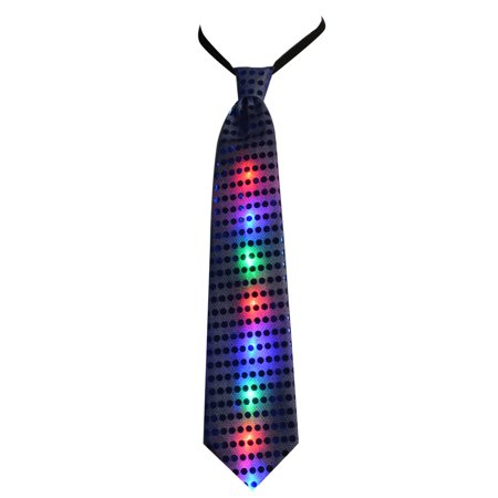 Jennis Light Up LED Glow Tie Sequin Novelty Blinking Party Toy Neckties Pink (Blinking Toys)