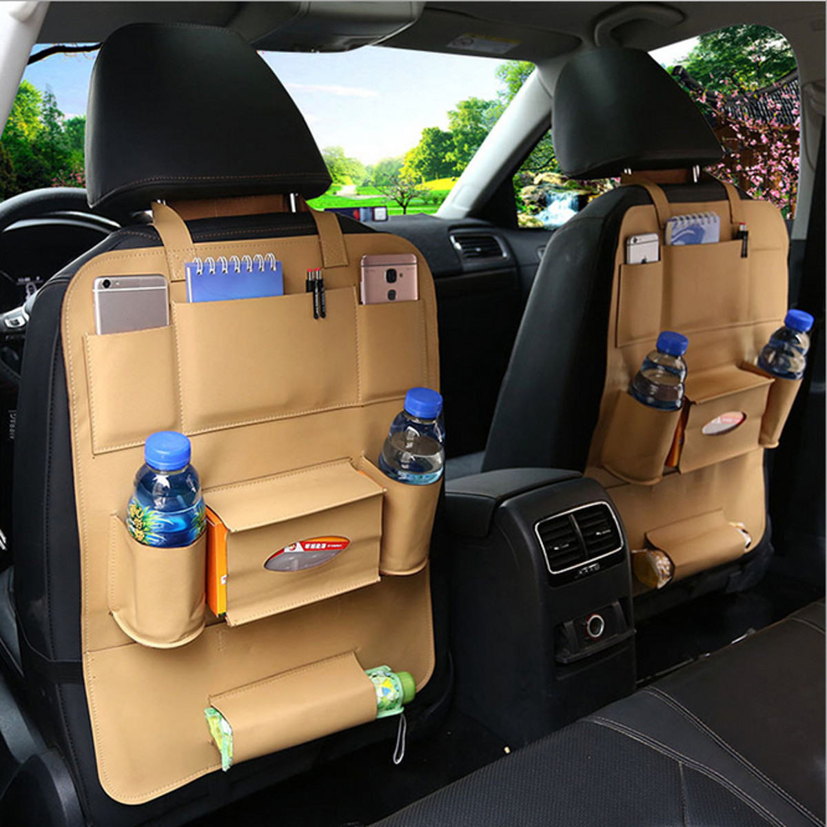 Beige/Brown/Black Auto Car Vehicle Seat Back Organizer Storage Bag Pocket Phone Holder Leather for Cars SUVs Trucks