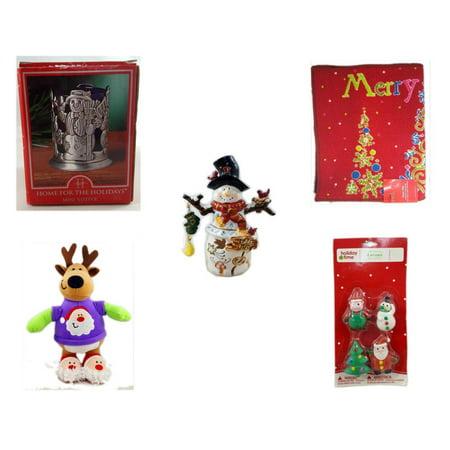 Christmas Fun Gift Bundle [5 Piece] - Home For The s Snowman Votive Holder - Merry  Door Mat  17.5