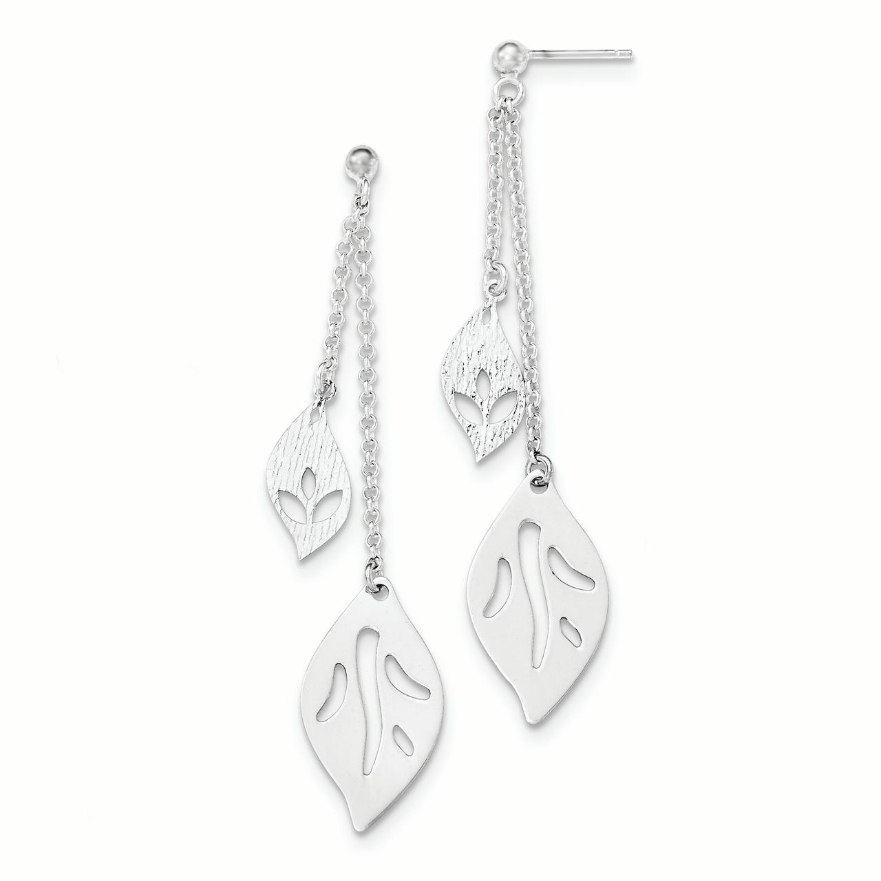 Sterling Silver Polished Fancy Dangle Post Earrings