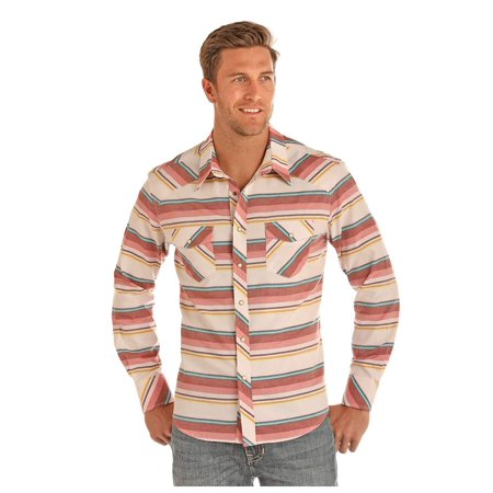 Rock & Roll Cowboy Men's Enzyme Wash Striped Long Sleeve Western Snap Shirt - B2S1147