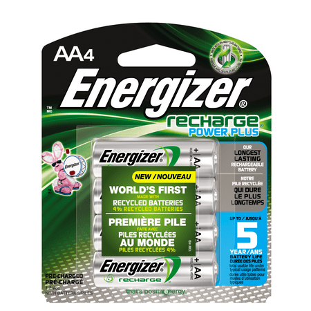 Energizer Recharge Power Plus Rechargeable AA Batteries, 4 Pack