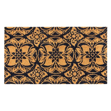 Juvale Natural Coir Door Mat - All Season Indoor Outdoor Welcome Doormat, Easy Clean, PVC Anti-Slip Backing Front Entry Mats, Talavera Style Floral Design, Brown, 17.2 x 30 x 0.5 Inches