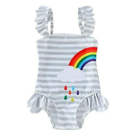 Styles I Love Baby Girl Matching Rainbow One-Piece Swimsuit Twin Girl Best Friend Bathing Suit Beach Swimwear (Left Rainbow, 100/2-3
