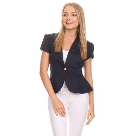 fa0dee694c NMC - Women's trendy style, solid short sleeve blazer. - Walmart.com