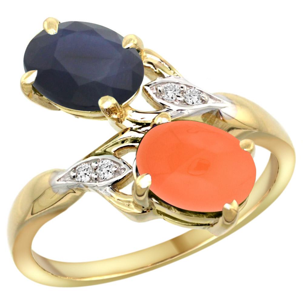 10K Yellow Gold Diamond Natural HQ Blue Sapphire & Orange Moonstone 2-stone Ring Oval 8x6mm, sizes 5 10 by WorldJewels