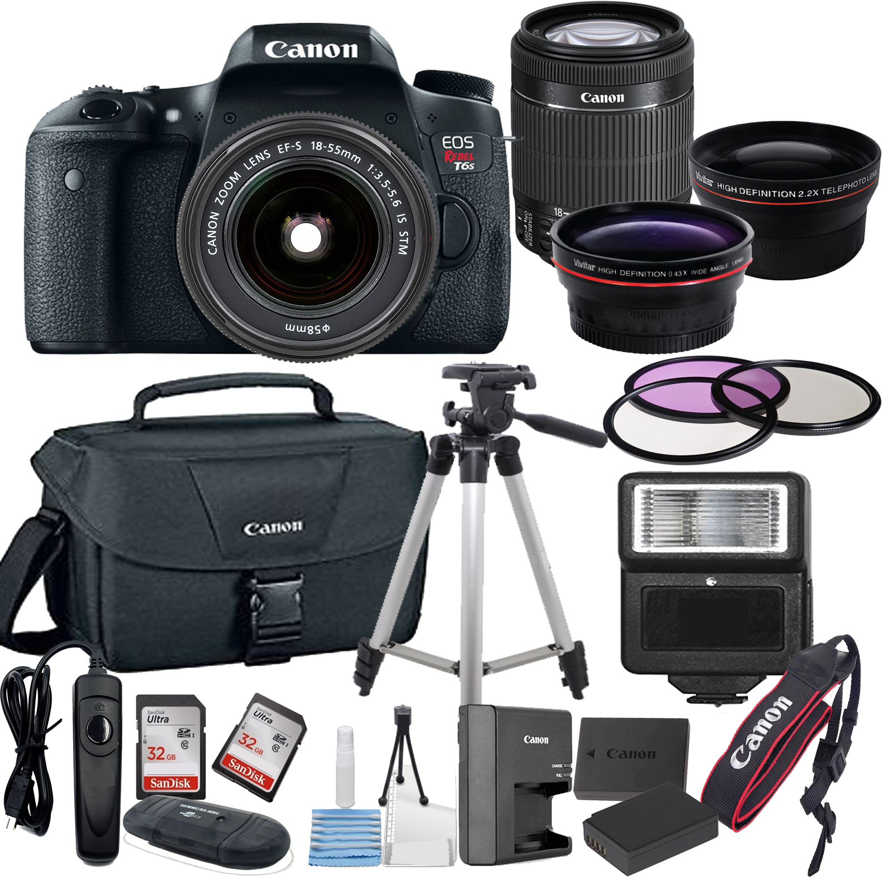 Canon EOS Rebel T6S Digital SLR Camera w/ EF-S 18-55mm Bundle includes Camera, Lenses, Filters, Bag, Memory Cards, Tripod, Flash, Remote Shutter , Cleaning Kit, Replacement Battery ,  Tripod ,and More