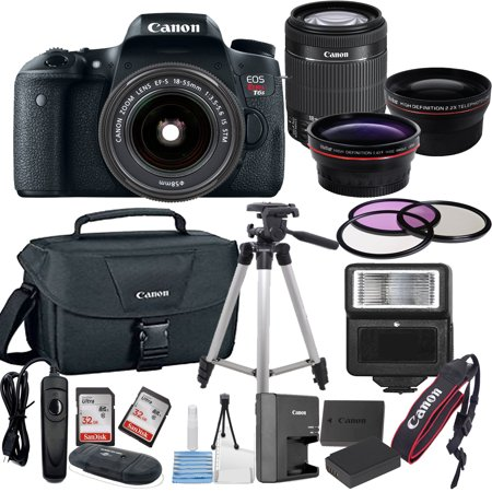 - Canon EOS Rebel T6S Digital SLR Camera w/ EF-S 18-55mm Bundle includes Camera, Lenses, Filters, Bag, Memory Cards, Tripod, Flash, Remote Shutter , Cleaning Kit, Replacement Battery ,  Tripod ,and More