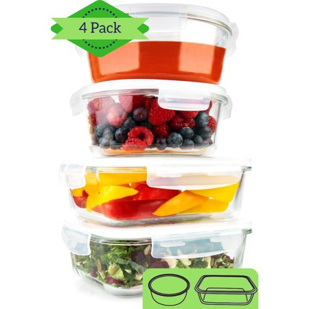 Glass Meal Prep Containers [4 PACK, 35 oz] - 2 Round & 2 Rectangle Food Storage Containers, Lunch Containers, Portion Control, Leakproof, BPA Free, Microwave, Oven, and Dishwasher Safe (lids off)