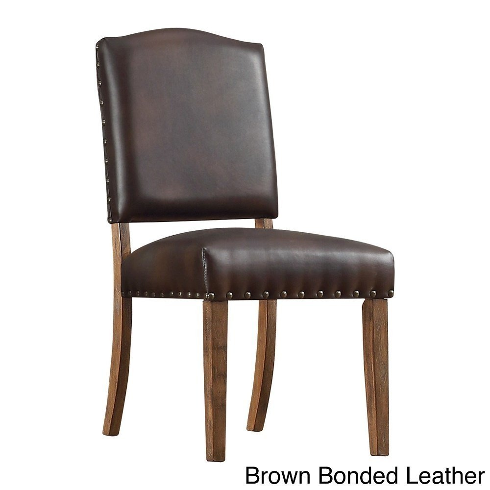 Benchwright Nailhead Upholstered Dining Side Chairs (Set of 2) Brown Bonded Leather