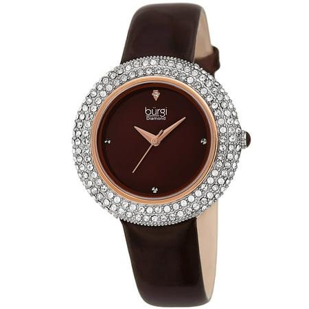 Burgi  Ladies Diamond Swarovski Crystal Sparkling Brown Leather Strap - Ladies Brown Leather Strap Watch