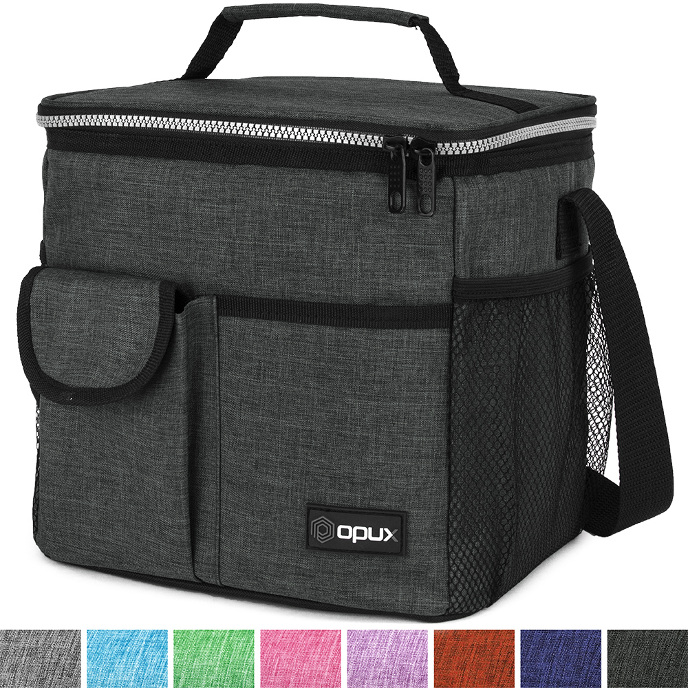 OPUX Premium Insulated Lunch Bag for Women, Men, Kids | Lunch Box with Shoulder Strap, Pocket, Soft Leakproof Liner | Medium Lunch Cooler for School, Work | Fits 6 Cans
